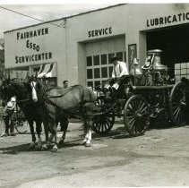 Image of 2010.019.017 - Ernie Waite's  horse drawn fire engine in Fairhaven parade