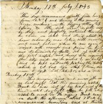Image of 2012.023.018.023 - Ship's Log from Monday July 17th 1843 - Sunday July 23rd 1843