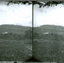 Image of FIELDS WITH HOUSE IN CENTER, HILL IN BACKGROUND - FIELDS WITH HOUSE IN CENTER, HILL IN BACKGROUND