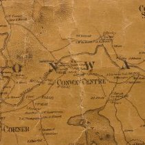 """Image of Conway3:  Map of Conway Corner, Centre Conway, and Conway Corner - from a Topographical Map of Carroll County, HF Walling, Surveyor.  Original (55""""x55"""") hung in Henney History Room.   There are 2 partial photocopies of this map (in Map Cabinet 1, Conway drawer)."""