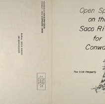"Image of Open Space on the Saco River for Conway: the Irish Property. 2-sided; reverse side shows title and is formatted for bulk mailing.  Map and description of 82 acre ""Irish Property"", about 1/2 mile from Conway Village along the Saco River.  Information for"