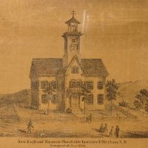 """Image of New England Masonic Charitable Institute, Effingham:  From a Topographical Map of Carroll County, HF Walling, Surveyor.  Original (55""""x55"""") hung in Henney History Room."""