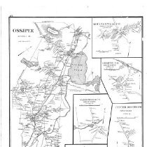 Image of Page 272 in atlas maps of towns of New Hampshire.  Includes Ossipee, Moultonville, Ossipee, Water Village, Center Ossipee, and Centerville, NH.  2 sided; reverse side = NR0073.  Shows roads, railroads, houses, rivers, lakes, mountains, and property owners