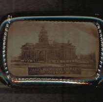 Image of Paperweight - Glass paperweight with image Jenks Memorial Library, Conway, NH