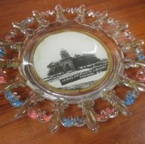 Image of Plate - glass plate with photo of Jenks library