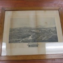 Image of Print - 1896 Bird's Eye View Conway in a frame