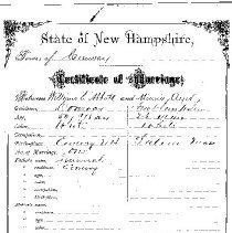 """Image of Folder containing Ayer (Ayers) family data..  1.  Birth/death date card.  2. Marriage Certificate for William S. Abbott and Minnie Ayer, dated 31 Oct 1878  3.  Obituaries.  4.  """"Update""""  re Moses Ayer, Marine,  Revolutionary War.  (1747 - 1823.)  5.  Birth Notice, 1-6-1994."""