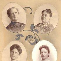Image of Officers of the Minneapolis Branch 1903, Mrs. I.W. Joyce, correspondence Secretary; Mrs. Landis , President; Mrs. C.W. Nall, Treasurer; Mrs. D.B. Gardner, Recording Secretary. - 6B, Women's Foreign Missionary Society