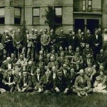 Image of unidentified, group outside Old Main (south or back side), Hamline University Campus, 1920? -