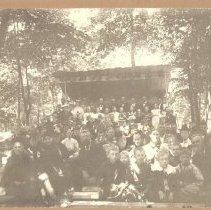 Image of Camp Meeting at the Mikel Johnson field, 189? - Camping