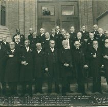 Image of Bishops of the Methodist Episcopal Church, with note by George H. Hazzard, identified at bottom of photograph, two copies - Clergy