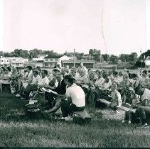 Image of service at County Road B, Church site, Arlington Hills, St. Paul, MN, August 1966 - Local Church