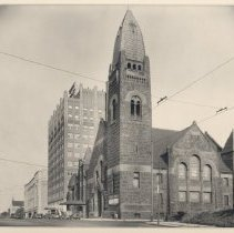 Image of Wesley UMC and Wesley Temple looking east on Grant St. - L-Minneapolis, Wesley UMC