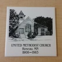 Image of Roseau United Methodist Church ceramic plaque or hot plate, 1903-1983 - L-Roseau United Methodist Church
