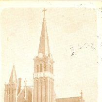 Image of St. Adrian's Church with Methodist church in background, Renville, Windom, Marshall, Red Wing  - local church