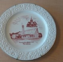 Image of Plate, Commerative, Waseca Evangelical United Methodist Church, 125th Anniversary - L-Waseca Evangelical United Methodist Church
