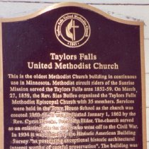 Image of Taylors Falls UMC Historic Site plaque