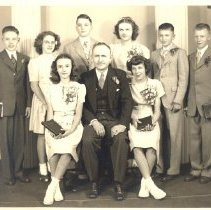 Image of confirmation photograph of C.O. Main with confirmands circa. 1941-51, Minneapolis, Grace Lowry - Local Church