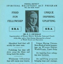 Image of Spiritual Recovery Act Program, Winona District, poster, c.1935 -