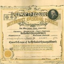 Image of Certificate, Epworth League of the  Farwell, First Swedish M.E. Church is recognized Chapter No. 24367, May 17, 1911 - L-Farwell, First Swedish Methodist Episcopal Church