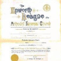 Image of L-Minneapolis, Bethlehem, Epworth League Certificate, December 19, 1906 - Discontinued Church