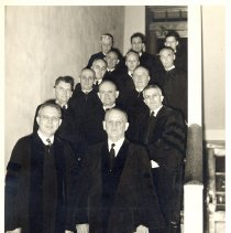 Image of Bishops Praetorius and Dennis with Superintendents and other clergy, 1951 Uniting Conference - 5A Annual Conference