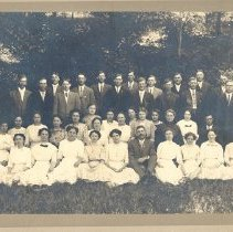 Image of St. Clair, Zion, group outdoors, 1914 - Local Church