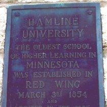 Image of Plaque, commemorating the original site of Hamline University, Red Wing, Minnesota. - 5A Annual Conference