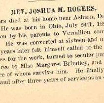 Image of Rev. Joshua Rogers memoir 1 1888