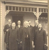 Image of Class of new Elders ordained by Bishop John Hamilton, in Ortonville Methodist Church, October 1904. - Clergy