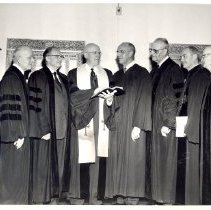 Image of Minnesota Conference, Methodist Church, District Superintendents with Presiding Bishop Voight 1957 - 1A1 Cabinet