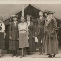 Image of Lucinda and Robert Moore With Others Outside a Tent - 2011.23.10