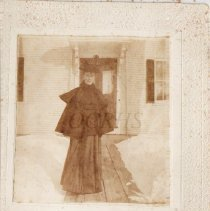 Image of Lucinda Colby Moore Outside Her Home in Winter - 2011.23.8