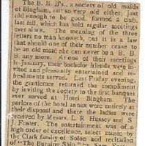 Image of BBB Banquet 1901, Newspaper Account - 2012.13.6