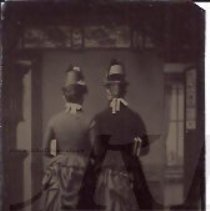 Image of Two Women Posed Back View with Bustles - 2010.2.13