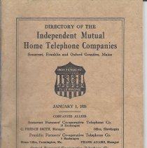 Image of 1926 Telephone Director; Somerset, Franklin and Oxford Coutnies, Maine