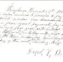 Image of Promissory note from Geo. Brown to Simon Goodrich 1864 - 2011.10.52