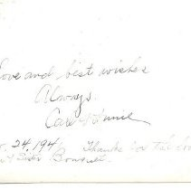 """Image of """"Carl and Annie 1941"""" - back of photo"""