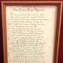 Image of Framed Poem: This Book's True Object, 1910