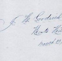Image of Joseph H. Goodrich, Kents Hill, Signature 1862