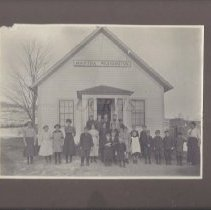 Image of Teacher and Students Outside Martha Washington School