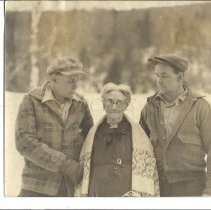 Image of Maurice Williams, Walter York and Mrs. Evie Stewart at Caratunk, ME - 2013.7.3