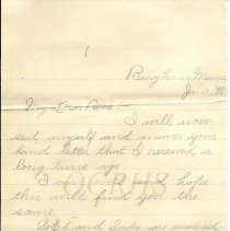 Image of Letter from Nettie Kennedy, Bingham ME to Miss Rosie Stewart, Caratunk ME - 2014.16.1