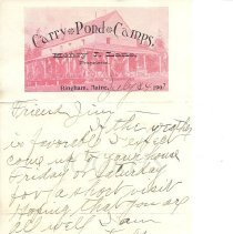 Image of Letter from C. Atkinson (?), Carry Pond Camps to J. W. Stuart, Carratunk ME - 2014.16.5