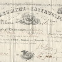 Image of 1860 Teaching Certificate Amador County CA - 2011.8.3
