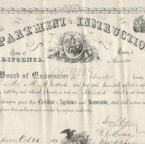 Image of 1861 Teaching Certificate Amador CA - 2011.8.4