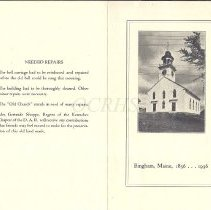 Image of 1936 Old Free Meeting House Program, Cover and Back