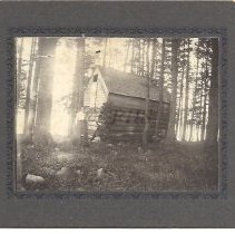 Image of Old Cabin at Pleasant Pond with Elizabeth Goodrich - 2012.13.124