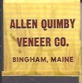 Image of Quimby Veneer Co. Matchbook
