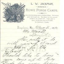 Image of Letter on Rowe Pond Camps Letterhead, L.W. Jackman - 2015.10.31